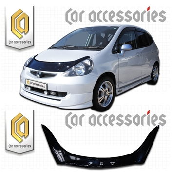 Изображение Дефлектор капота (Черный) Honda Fit GD1-GD4 2001-2006 (арт 82)